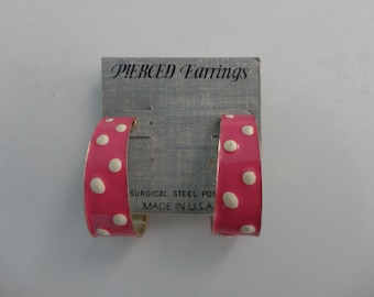 VINTAGE pink white polka dot POST hoop EARRINGS