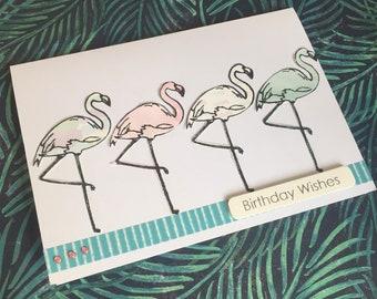 Pastel flamingos birthday card