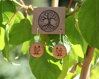Chicken Love Earrings- Cherry Wood Chicken Earrings- - Natural Wood Jewelry- Eco Earrings