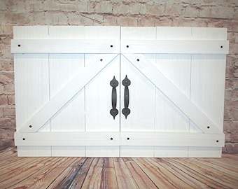 Handcrafted Wood Mini Barn Doors/Shutters Wall Decor w Black Accent Handles and Screws White, Epsresso, Oak, Gray