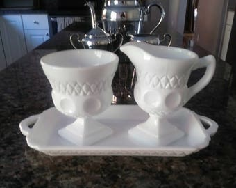 1970s Vintage Milk Glass Creamer and Sugar pitcher server Bowl Set with tray, Colony Thumbprint with diamond and circle pattern