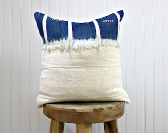 Indigo and White Fringe Mud Cloth Pillow Cover // Various Sizes Baoule Cloth Navy Blue Cream African Textile Ethically Sourced Global Decor