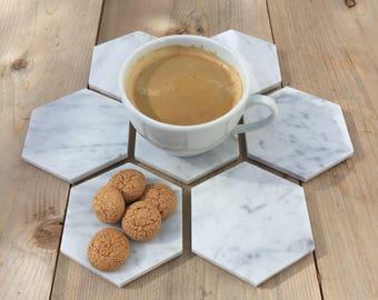 Hexagon Carrara White Carrera Marble Coasters | Marble Coasters | Hostess Gift | Housewarming Gift | Gift for women | Geometric coasters