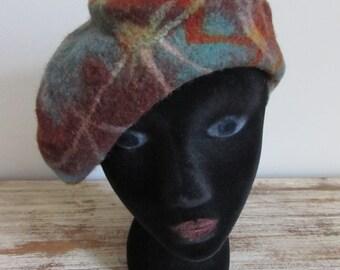 Artisan Handmade felted Beret Hat Made in Kyrgyzstan
