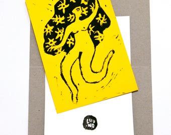 Card / Charlie's Angels / 10 x 15 / linocut