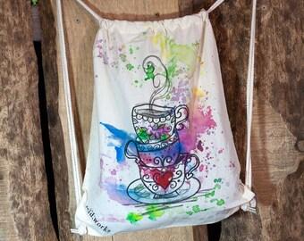 """SALE % Turnbeutel """"Tea Party"""" (acid works) Baumwolle (individualisierbar)"""