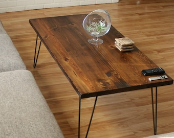 Coffee Table with Hairpin Legs - Industrial Coffee Table - Mid Century Modern Furniture