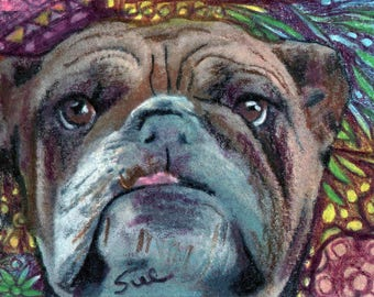 original art  aceo drawing bulldog zentangle design spirit animal