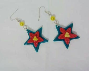 Christmas star earrings In cold porcelain, cold porcelain christmas earrings, Christmas gift idea, gift idea girl