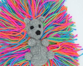 Lovely crocheted amigurumi hedgehog, mini stuffed animal, rainbow toys, CE certified, amigurumi animal, hedgehog gift, cute stuff, magic toy