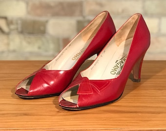 Red Salvatore Ferragamo Open Toe Vintage Pumps