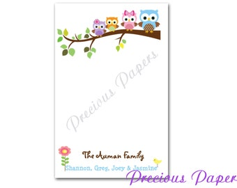 50 sheets Personalized owl notepads - Personalized owl family note pads - Personalized owl memo pads owl family notepads