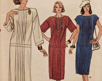 Vintage 1980's Vogue 9203 Sewing Pattern Misses' Loose-fitting Pullover Dress 80s Dress Pattern Front Tucks Sleeve Variations FF Sizes 8-12