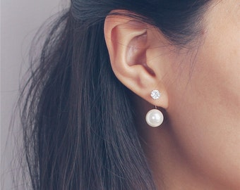 CZ diamond front and Pearl back earrings - two way pearl earrings