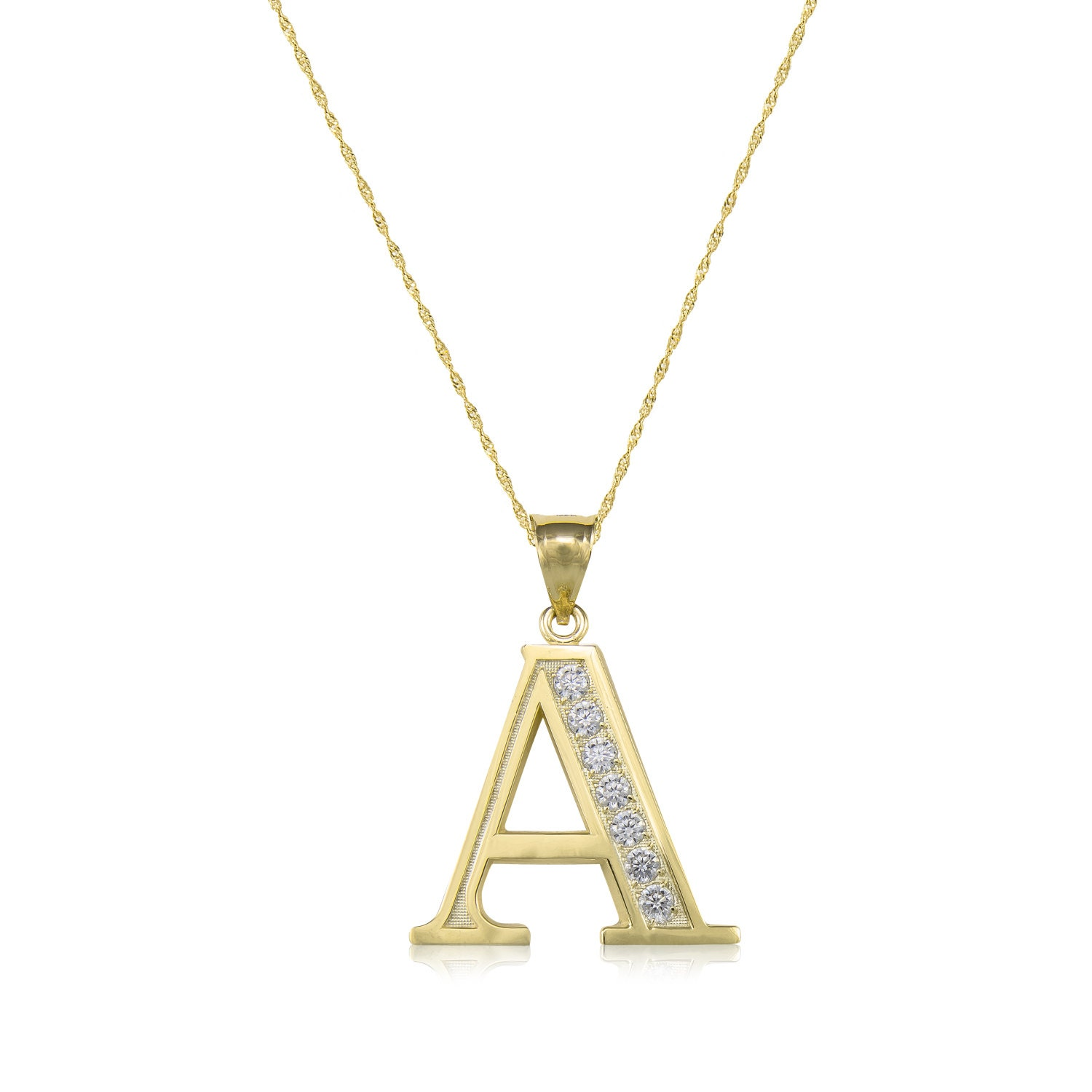 10k solid yellow gold cubic zirconia initial letter pendant 10k solid yellow gold cubic zirconia initial letter pendant singapore chain necklace set a z any alphabet charm mozeypictures Image collections