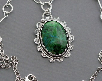 Sterling silver chrysocolla pendant necklace natural stone jewelry green pendant bohemian jewelry artisan statement necklace unusual gift