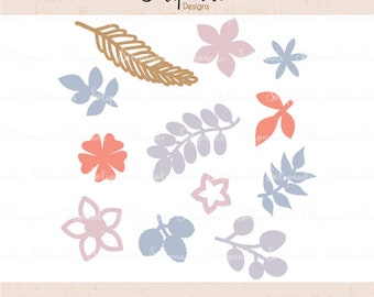 Leaves & Flowers - SVG and DXF Cut Files - for Cricut, Silhouette, Die Cut Machines // Flower svg// #251