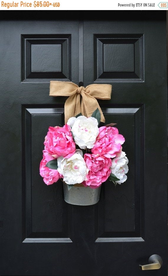SUMMER WREATH SALE Peony Summer Wreath Alternative Door Bucket- Outdoor Xl Pink Floral Summer Door Wreath Decor- Patio Artificial Outdoor Wr