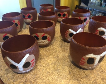 Hand painted Kakamora inspired coconut cups