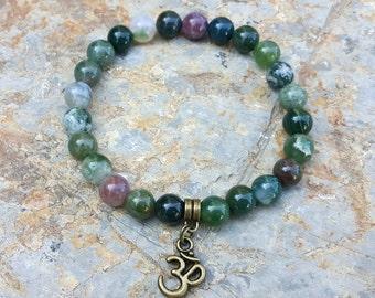Om Baracelet Aum Bracelet Indian Agate Gemstone Bracelet Spiritual Wrist Mala Bracelet Yoga Mala Protective Prayer Beads Meditation Bracelet