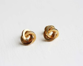 Knot Studs Gold Silver, Vintage Knot Studs, Love Knot Studs, Gold Knot Studs, Silver Knot Studs, Round Knot Studs, Gold Stud Earrings, Studs