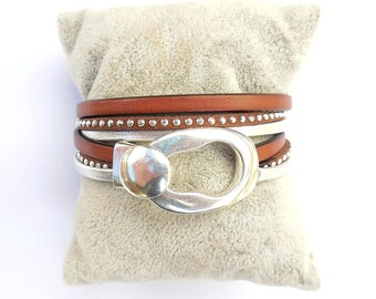 Brown leather and Silver buckle clasp with silver plated bracelet