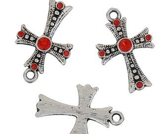 2 Gothic cross pendants and Red rhinestones