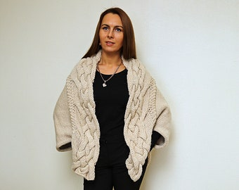 Hand Knitted Loose Womens Cardigan, Oversize Cable Knit Cocoon, Spring Cardigan, Chunky Knit Shrug Sweater, Women's Kimono Sweater
