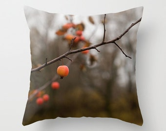Fall Decorative Pillow Cover, Autumn Throw Cushion Case, Red Accent, Rustic Home Decor, Nature Photo, 18x18, 20x20, 22x22, Man Cave, Cottage