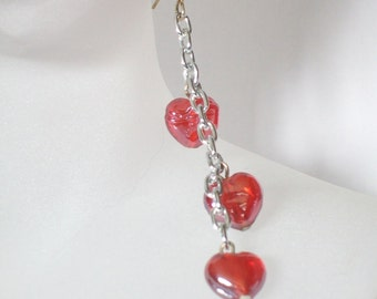 Valentine's Day Dangly Red Heart Earrings - Unchain My Heart