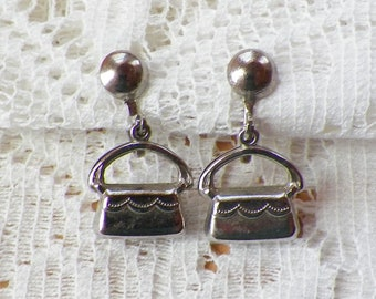 Vintage Dangling Dimensional Silver Tone Tiny Purses Screw Back Earrings, Little Purse Earrings