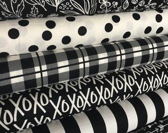 Black White fabric, Modern Nursery fabric, Quilting fabric, Black White decor, Arrow, Plaid, Yes Please Bundle of 6- Choose the Cuts