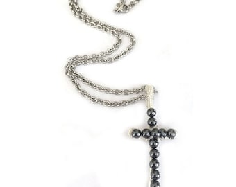 Hematite Pendant Artisan Cross Necklace for Women or Men