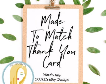 Thank You Card, Thank You Cards, Thank You Notes, Thank You Card Set Made To Match Any SoCalCrafty Design, Printed or Printable DIY