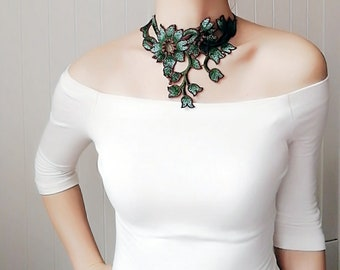 statement dark green silver floral lace choker / embroidery lace statement bib necklace / retro boho chic accessory art deco / jewelry gift