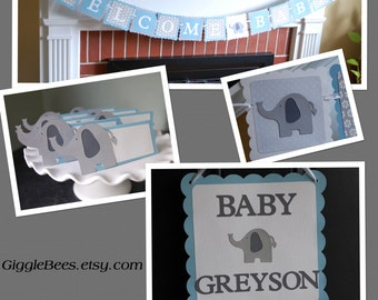 Elephant Baby Shower Package, Welcome Baby Banner, Elephant Door Sign, Elephant Food Labels, Greys, Pastel Blue