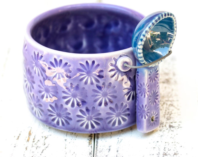 purple and blue salt cellar and spoon