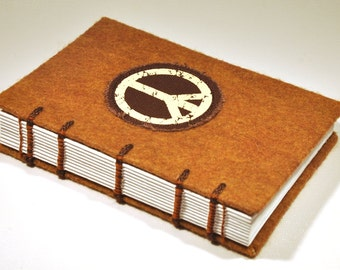 """Vintage Peace Sign Journal and Sketchbook - Handmade, coptic bound, felt and peace sign patch, 4 x 6"""" size"""