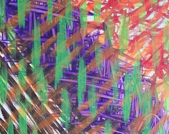 """Green, Purple, Red, Orange and Brown Original Acrylic Abstract Painting on Canvas """"Series 4 XXXVI"""" Wall Art, Home Decor, Interior Design"""