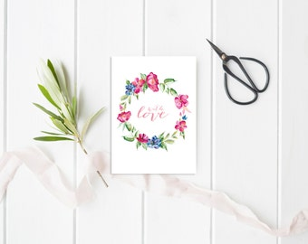 Valentine's Day Card Illustrated greeting card Floral wreath Valentine's Day card Stationery Handpainted card Card of love Illustrated card