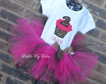 Hot Pink Cheetah Birthday Cupcake Tutu Outfit-Hot Pink and Cheetah Cupcake Party Outfit-Hot Pink and Cheetah Tutu Set
