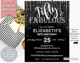 Fifty and Fabulous | Birthday Invitation, 50th Birthday, Birthday Party,Fifty,Adult Birthday,Fabulous,50th,Surprise Birthday,50 and Fabulous