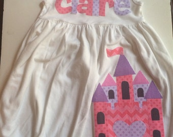 Princess Castle Dress-   You Choose Dress Color and Sleeve Length