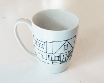 custom fathers day gift, house portrait, house mug, coffee gift, home illustration, architect gift, housewarming gift, real estate gift