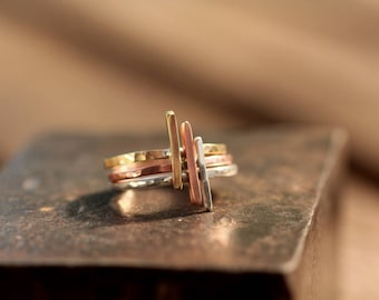 Set of 3 Mixed Metal  Stacking rings< Silver, Brass and Copper in size P 1/2 Aus     which is an 8.