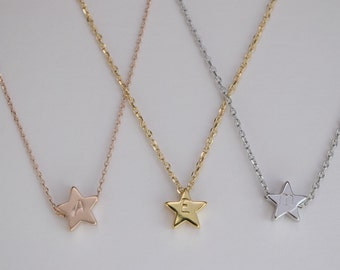 Initial  star necklace, star charm  necklace,  bridesmaid gift, gift necklace, star necklace