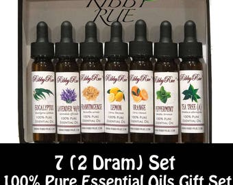 8ml (2 Dram) - 100% Pure Essential Oils Gift Set (set of 7) On Sale FREE SHIPPING SHIP