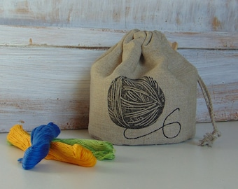 Natural linen bag, small storage, fabric, gift bag, sewing, 4x5 inch, crafts, clew
