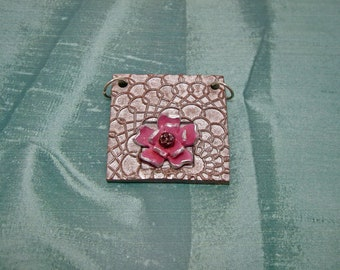 Pretty Pink Flower in a Textured Frame - Pendant or Focal Piece for your design