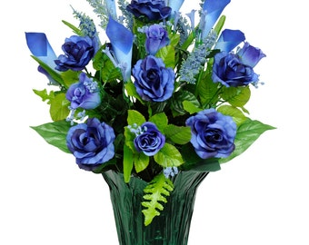 Blue Roses and Calla Lilies Potted Silk Flower Arrangement - Cemetery Flowers - Silk Flower Arrangement (PT1158)